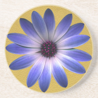 Lapis Blue Daisy on Yellow Leather Texture Coaster