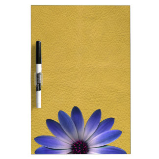 Lapis Blue Daisy on Yellow Leather Texture Dry Erase Board