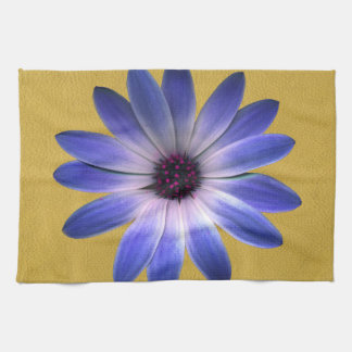 Lapis Blue Daisy on Yellow Leather Texture Hand Towels
