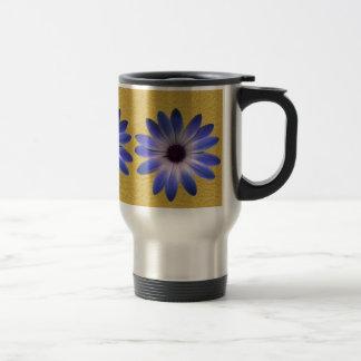 Lapis Blue Daisy on Yellow Leather Texture Mug