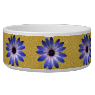 Lapis Blue Daisy on Yellow Leather Texture Dog Food Bowls
