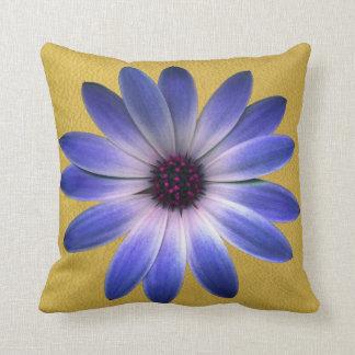 Lapis Blue Daisy on Yellow Leather Texture Throw Pillows