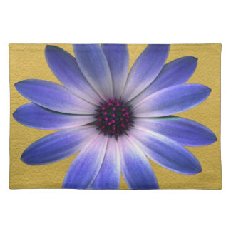 Lapis Blue Daisy on Yellow Leather Texture Place Mats