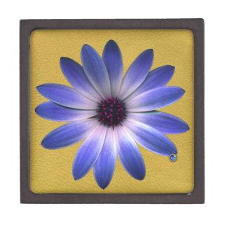 Lapis Blue Daisy on Yellow Leather Texture Premium Trinket Box