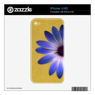 Lapis Blue Daisy on Yellow Leather Texture Print Decal For iPhone 4