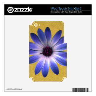 Lapis Blue Daisy on Yellow Leather Texture Print Decal For iPod Touch 4G