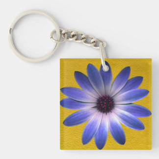 Lapis Blue Daisy on Yellow Leather Texture Print Keychain