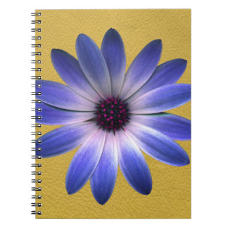 Lapis Blue Daisy on Yellow Leather Texture Print Notebook