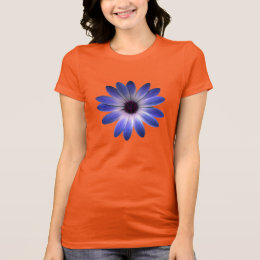 Lapis Blue Daisy on Yellow Leather Texture Print T-Shirt