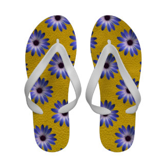 Lapis Blue Daisy on Yellow Leather Texture Sandals