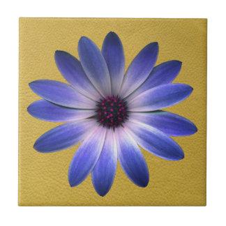 Lapis Blue Daisy on Yellow Leather Texture Ceramic Tile