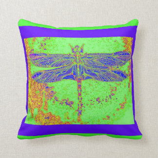Lapis Blue Dragonfly Green Cushion by Sharles