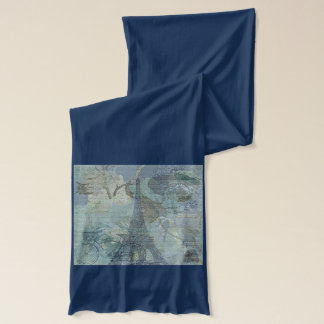 Lapis Blue Eiffle Tower Paris Jersey Scarf