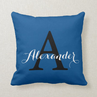 Lapis Blue Intense Radiant Solid Color Monogram Throw Pillow