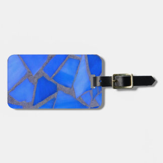 Lapis Blue Mosaic Stained Glass Luggage Tag