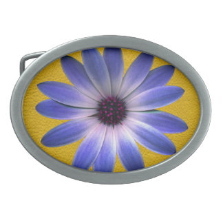 Lapis Daisy on Yellow Leather Texture Oval Belt Buckles