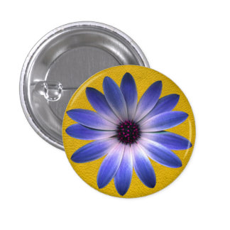 Lapis Daisy on Yellow Leather Texture Buttons