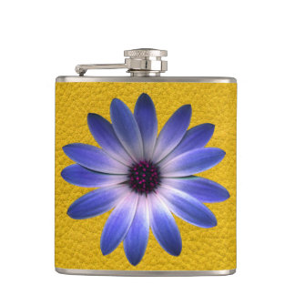 Lapis Daisy on Yellow Leather Texture Flask