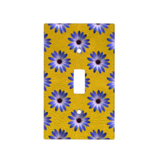 Lapis Daisy on Yellow Leather Texture Light Switch Plates