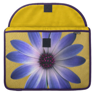 Lapis Daisy on Yellow leather texture Sleeve For MacBooks