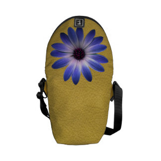 Lapis Daisy on Yellow leather texture Messenger Bags
