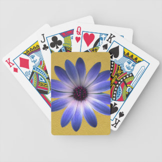 Lapis Daisy on Yellow leather texture Bicycle Poker Deck