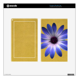Lapis Daisy on Yellow leather texture Skins For Kindle Fire