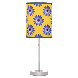 Lapis Daisy on Yellow Leather Texture Table Lamps