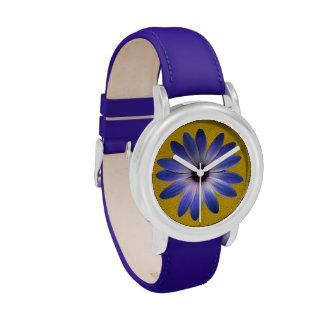 Lapis Daisy on Yellow Leather Texture Wrist Watch