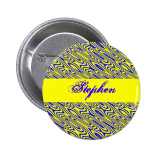 Lapis Lazuli Swirlies Abstract Pattern Custom Name Pinback Button