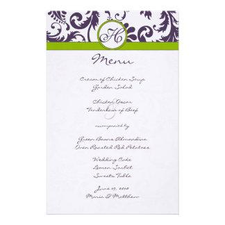Lapis Purple and Apple Green Damask Wedding Menu