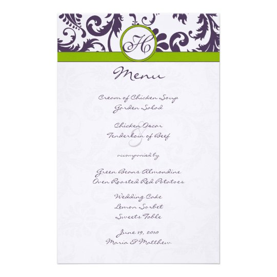 Lapis Purple and Apple Green Damask Wedding Menu