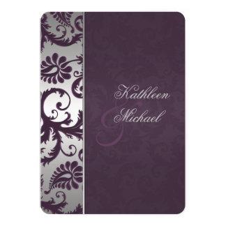 Lapis Purple and Silver Damask Wedding Invitation