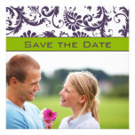 Lapis Purple & Apple Green Damask Save the Date Personalized Announcement