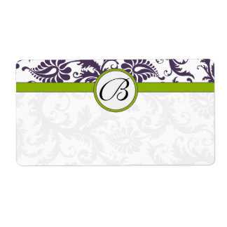 Lapis Purple & Apple Green Damask Wedding Labels