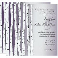 Lapis Purple Birch Tree Wedding Invitations