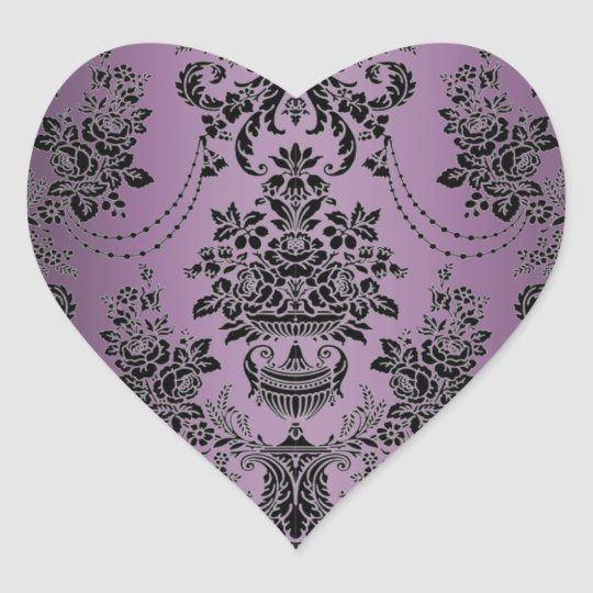 Lapis Purple Black Damask Wedding Envelope Seals