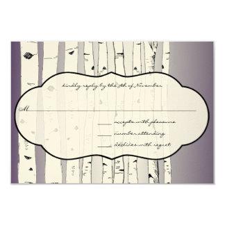 Lapis Purple Cloud Birch Tree Wedding RSVP 3.5x5 Paper Invitation Card