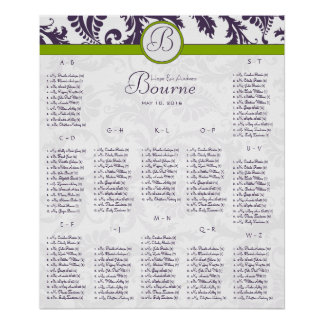 Lapis Purple Damask Green Seating Chart 12 Tables