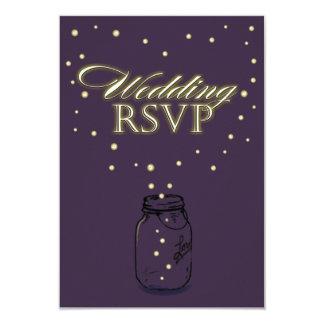 Lapis Purple Mason Jar Firefly Wedding RSVP Cards