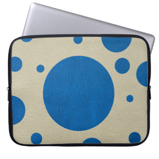Lapis Scattered Spots on Stone Leather Texture Laptop Computer Sleeve