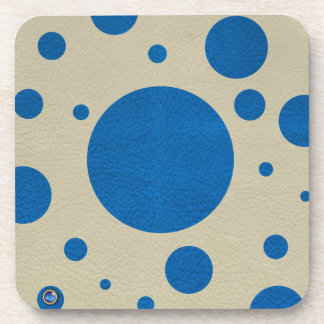 LapisBlue Scattered Spots on Stone Leather Texture Drink Coasters