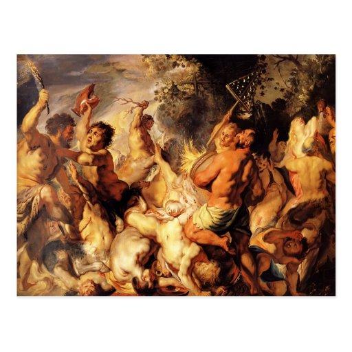 Lapiths y los Centaurs de Jacob Jordaens Postal