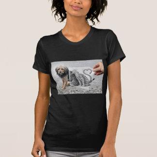 Lápiz contra cámara - perro y gato camisetas