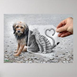 Lápiz contra cámara - perro y gato póster