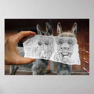 Lápiz contra la cámara - burros locos póster