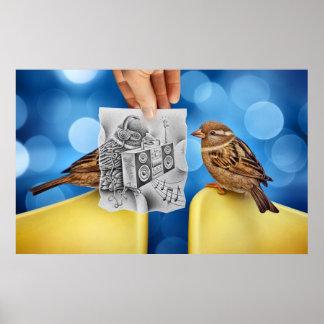 Lápiz contra la cámara - electro pájaro póster