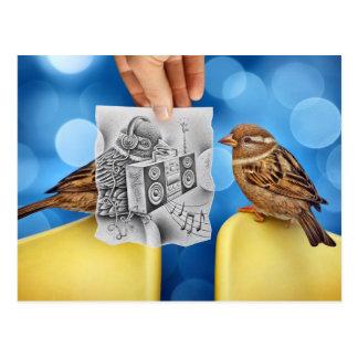 Lápiz contra la cámara - electro pájaro postales