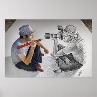 Lápiz contra la cámara - espejo 3D Póster