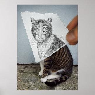Lápiz contra la cámara - gato de 4 ojos póster